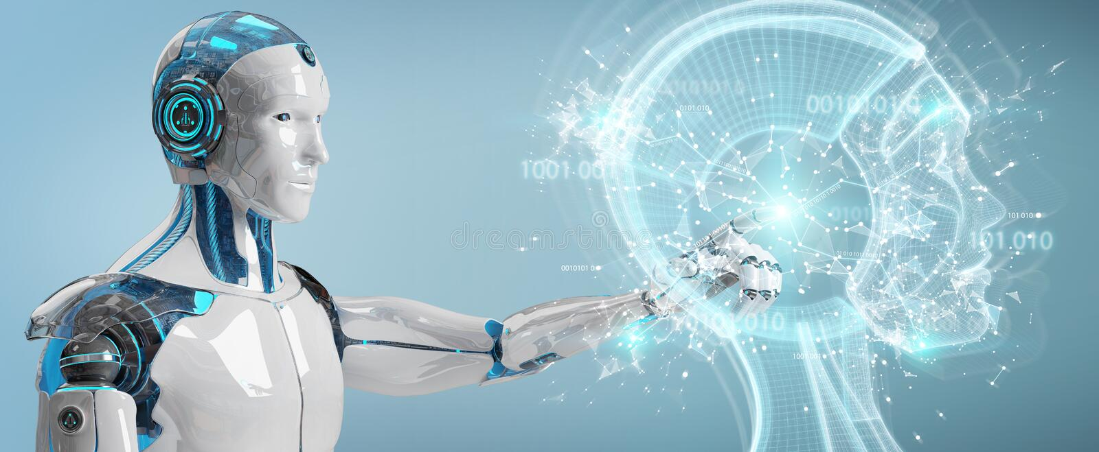 White male cyborg creating artificial intelligence 3D rendering. White male cyborg on blurred background creating artificial intelligence 3D rendering royalty free illustration