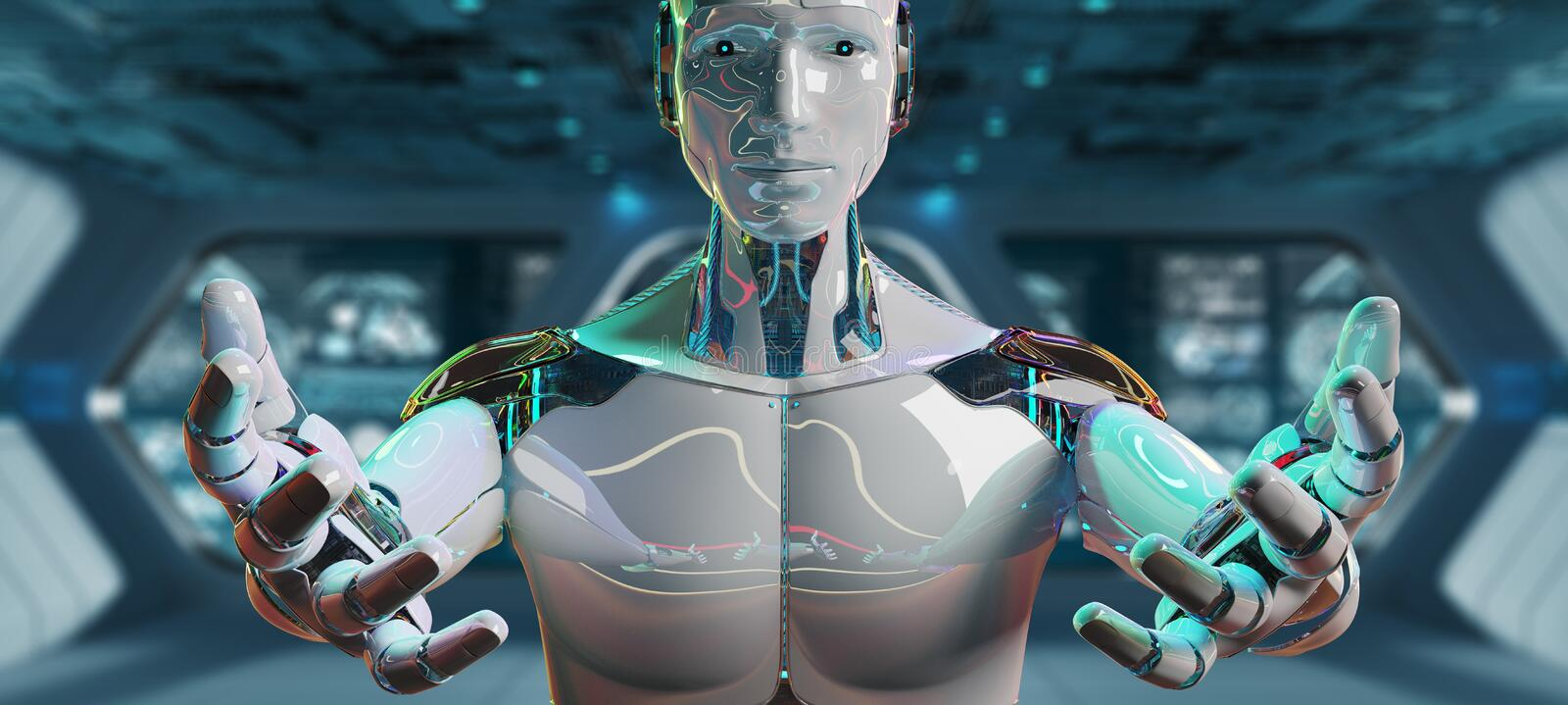 White male cyborg opening his two hands 3D rendering royalty free illustration