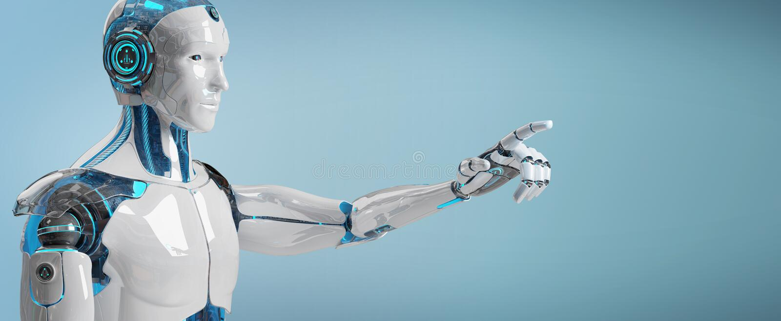 White male cyborg pointing his finger 3D rendering royalty free illustration