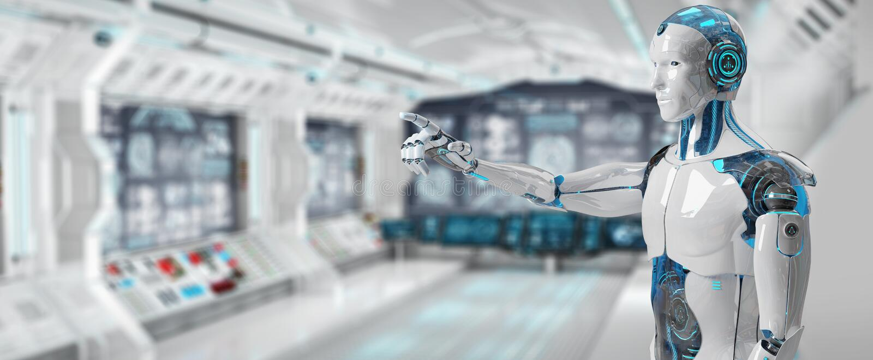 White male cyborg pointing his finger 3D rendering stock illustration