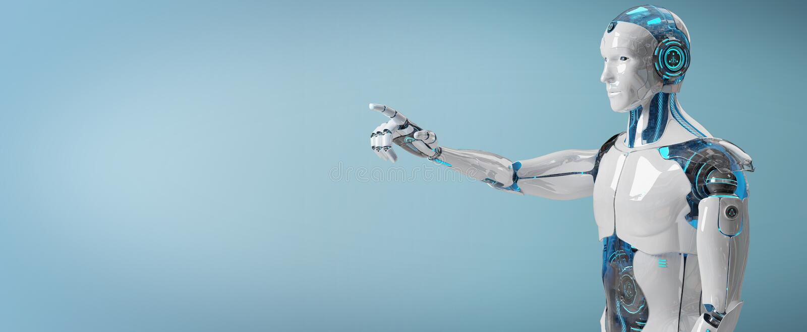 White male cyborg pointing his finger 3D rendering stock illustration