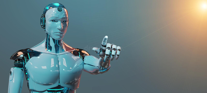 White male cyborg pointing his finger 3D rendering vector illustration