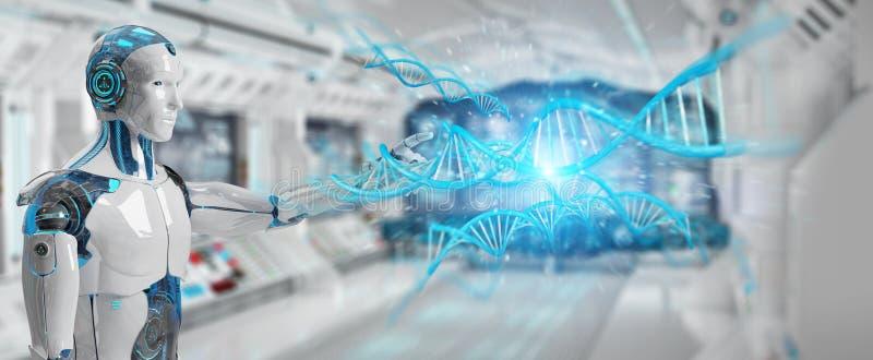 White male cyborg scanning human DNA 3D rendering vector illustration