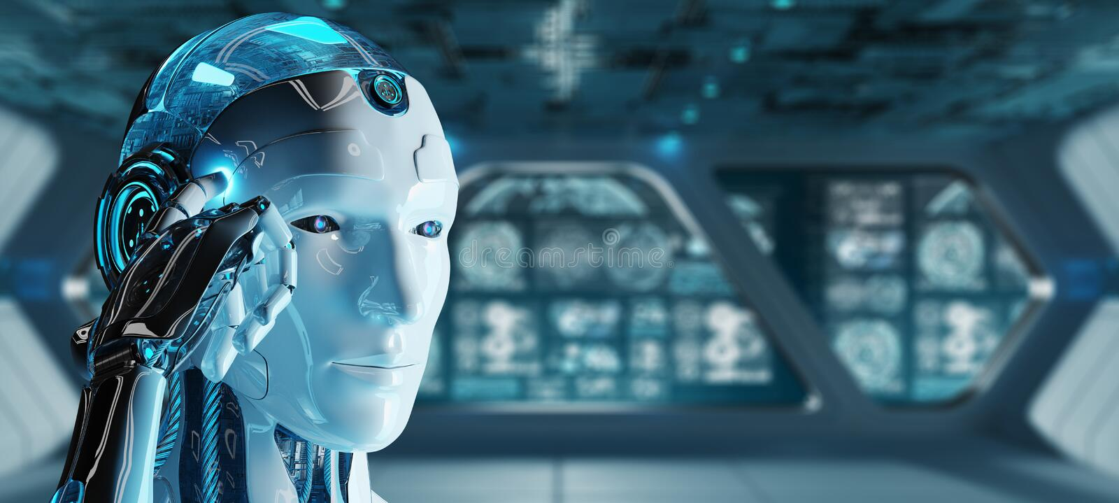 White male cyborg thinking and touching his head 3D rendering stock illustration