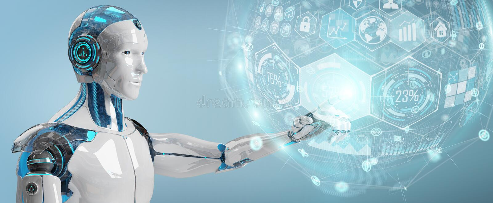 White male cyborg using digital chart interface 3D rendering royalty free illustration