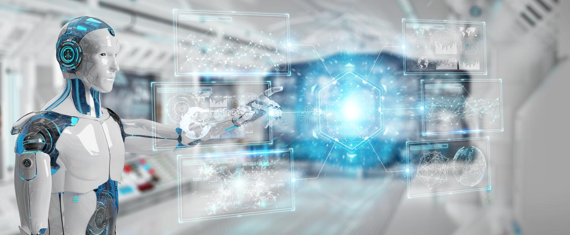 White male cyborg using digital datas interface 3D rendering. White male cyborg on blurred background using digital datas interface 3D rendering vector illustration