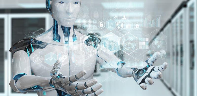 White male cyborg using digital datas interface 3D rendering. White male cyborg on blurred background using digital datas interface 3D rendering royalty free illustration