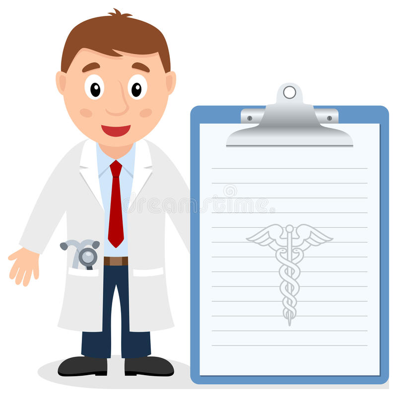 White Male Doctor with Medical Record royalty free illustration