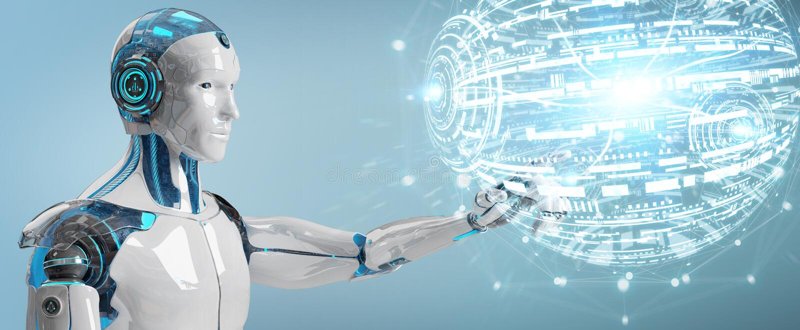 White male robot using digital globe hud interface 3D rendering. White male robot on blurred background using digital globe hud interface 3D rendering vector illustration