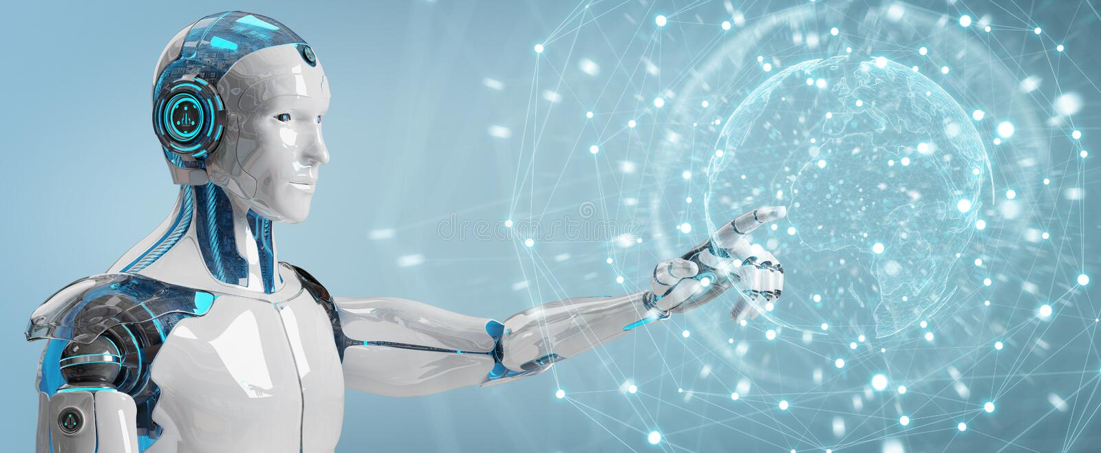 White male robot using digital screen interface 3D rendering. White male robot on blurred background using digital screen interface 3D rendering royalty free illustration