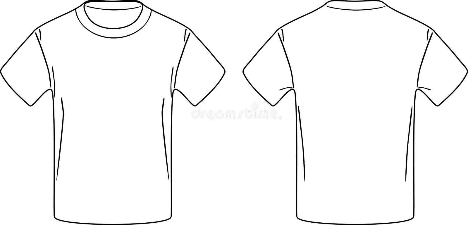 White male t-shirt. Front and back contour drawing stock image