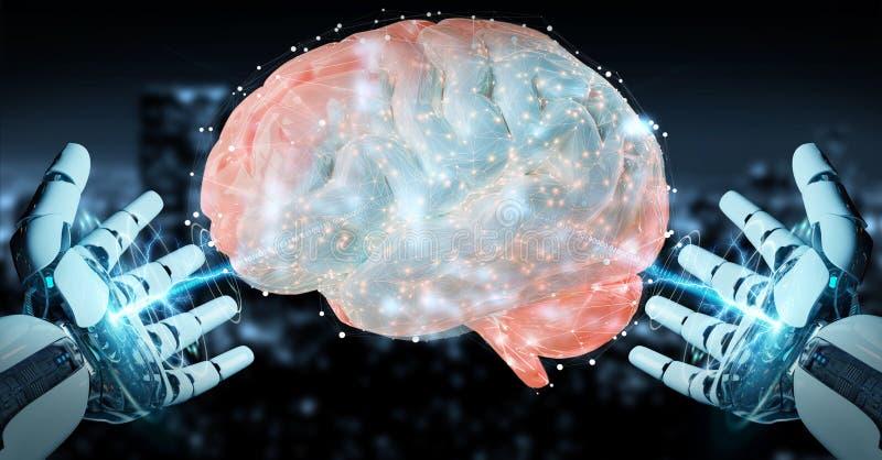 White man humanoid creating artificial intelligence 3D rendering. White man humanoid on blurred background creating artificial intelligence 3D rendering royalty free illustration