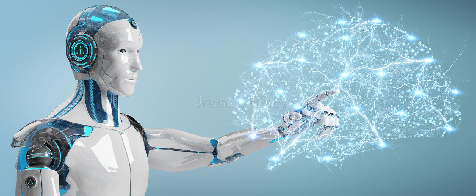 White man humanoid creating artificial intelligence 3D rendering stock illustration