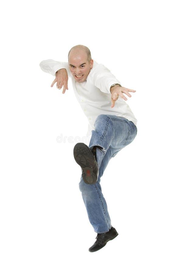 White Man Jumping in Mid Air Kick