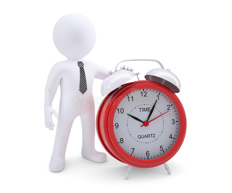 White man next to the red alarm clock royalty free illustration