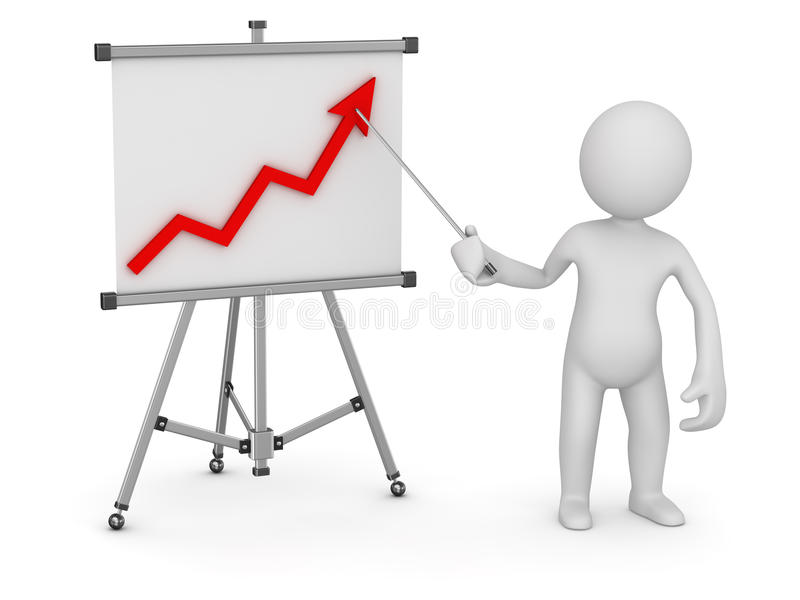 White man pointing business chart on whiteboard vector illustration