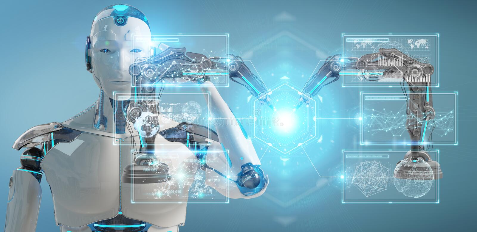 White man robot using robotics arms with digital screen 3D rendering stock illustration
