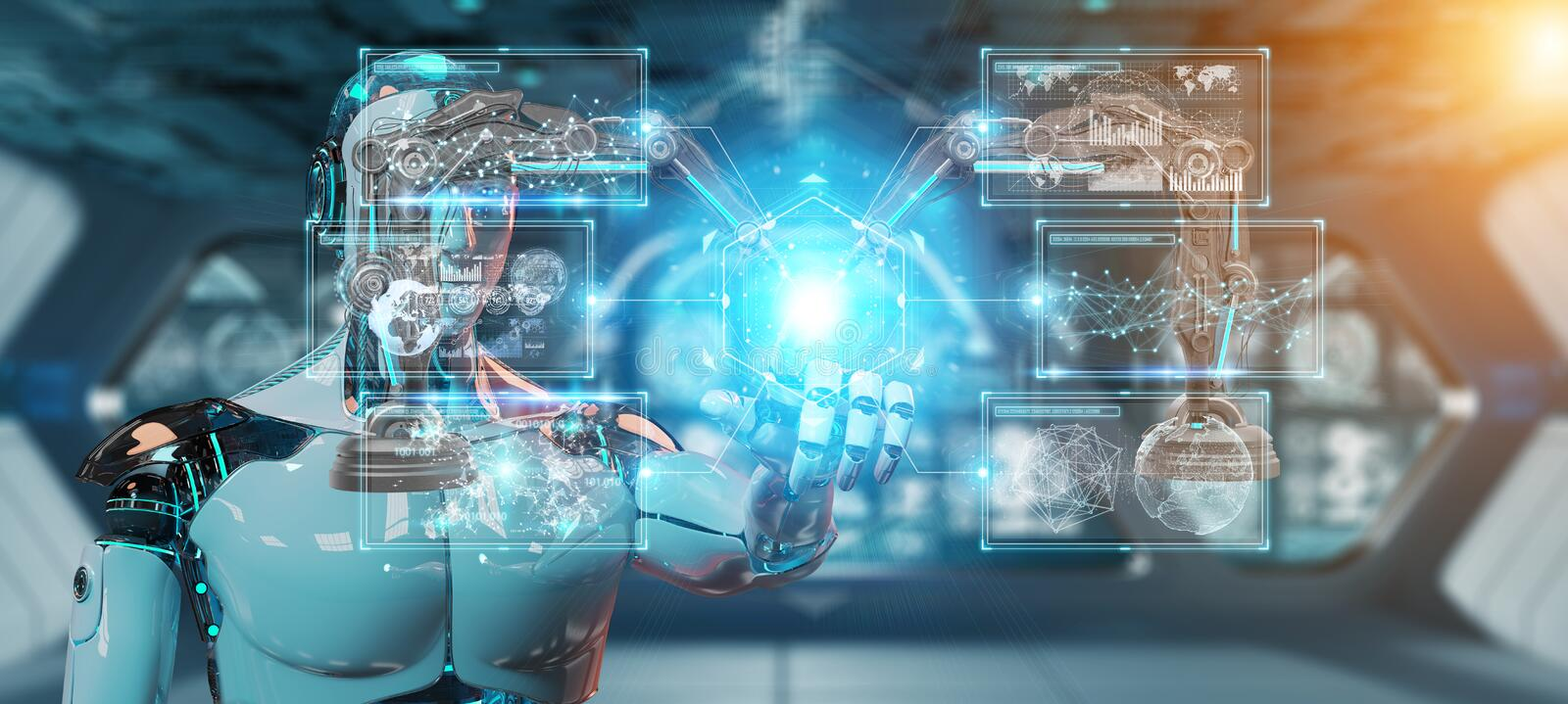 White man robot using robotics arms with digital screen 3D rendering vector illustration