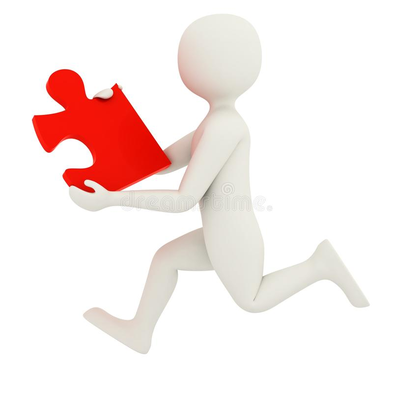 White man running with puzzle piece. 3d man running with single red puzzle piece vector illustration