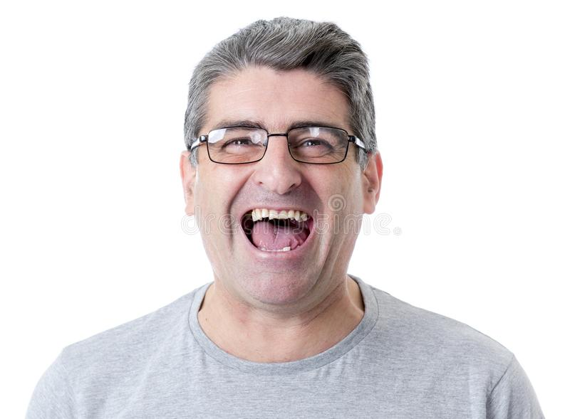 white man 40 to 50 years old smiling happy showing nice and positive face expression isolated on grey background royalty free stock images