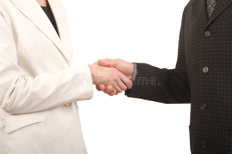 White man and woman - business handshake royalty free stock photos