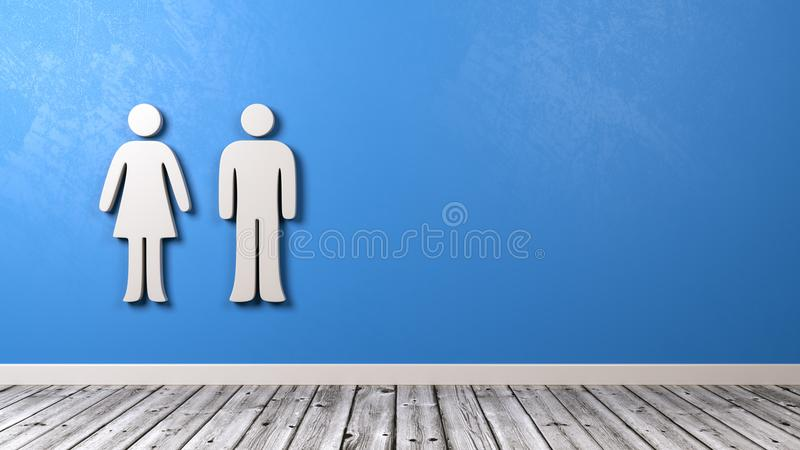 Man and Woman Symbol on Blue Wall. White Man and Woman Symbol Shape in the Room on Blue Wall with Copy Space 3D Illustration stock illustration