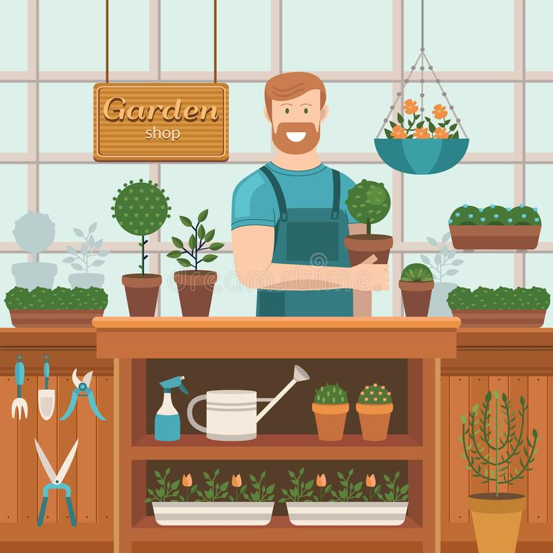 The seller in the store gardening royalty free stock images