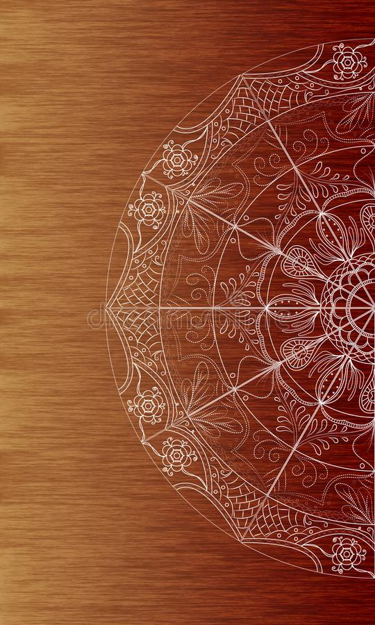 White mandala doodle art brown wood texture background. White mandala doodle art round ornament pattern on brown wooden texture background. Ideal for mobile