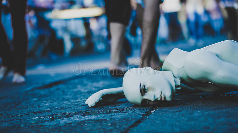 White Mannequin Lying On Street Free Public Domain Cc0 Image