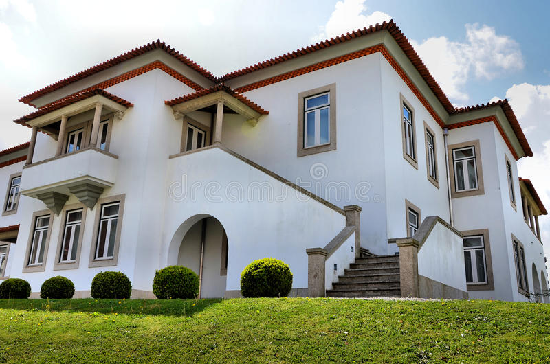 White mansion stock photography