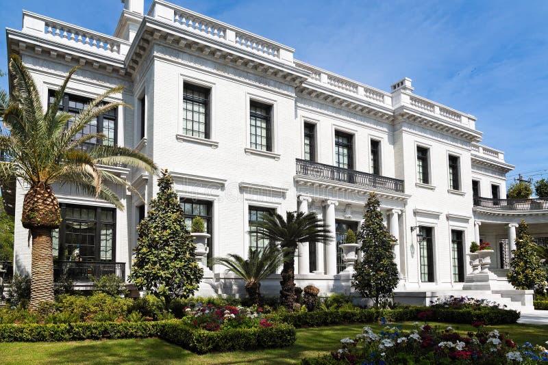 White Mansion in Savannah stock image