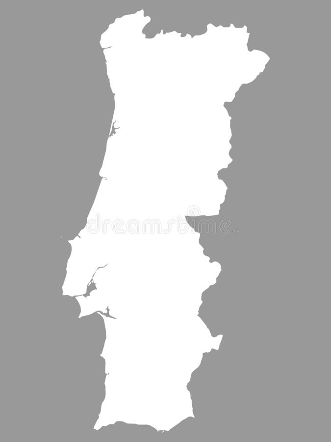 White Map of Portugal on Gray Background. Vector Illustration of the White Map of Portugal on Gray Background royalty free illustration