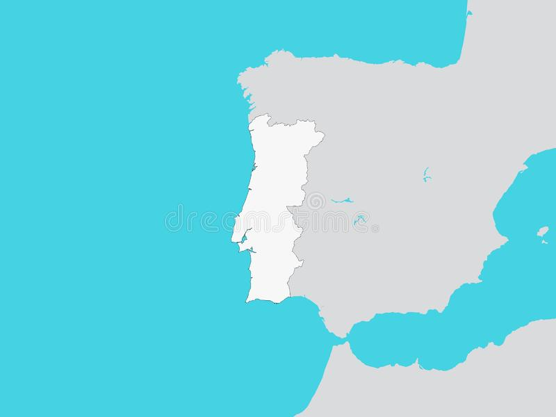 White Map of Portugal with Surrounding Terrain. Vector Illustration of the White Map of Portugal with Surrounding Terrain vector illustration