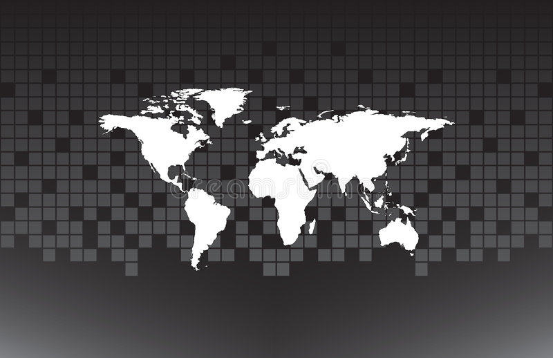 White map of the world. On the grey background stock illustration