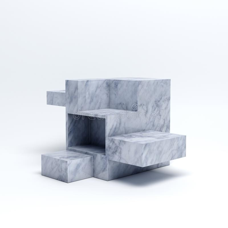 White marble box on white background, creative art urban display mock up fashion product or outfit apparel. 3D rendering. royalty free stock photos