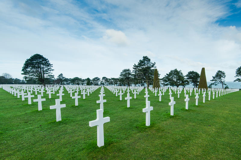 White marble cross on American Cemetery in Normandy. France stock photo