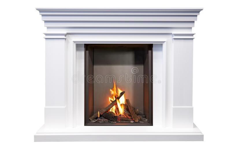 White Marble fireplace in action isolated on white background.  royalty free stock photography