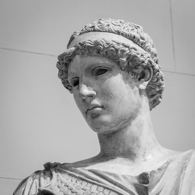 White marble head of young woman.  royalty free stock images