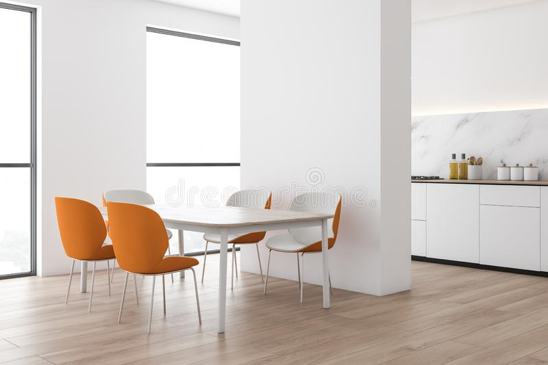 White marble kitchen corner with orange chairs. Corner of modern kitchen with white and marble walls, wooden floor, white countertops with built in cooker and royalty free illustration