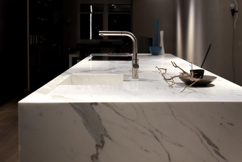 White Marble Kitchen royalty free stock photo