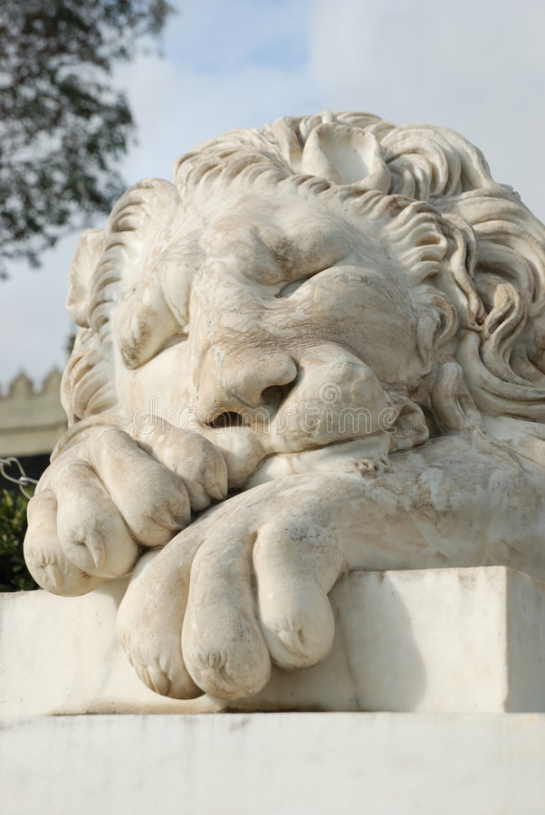 White Marble Lion Sculpture In Alupka Stock Photo Image