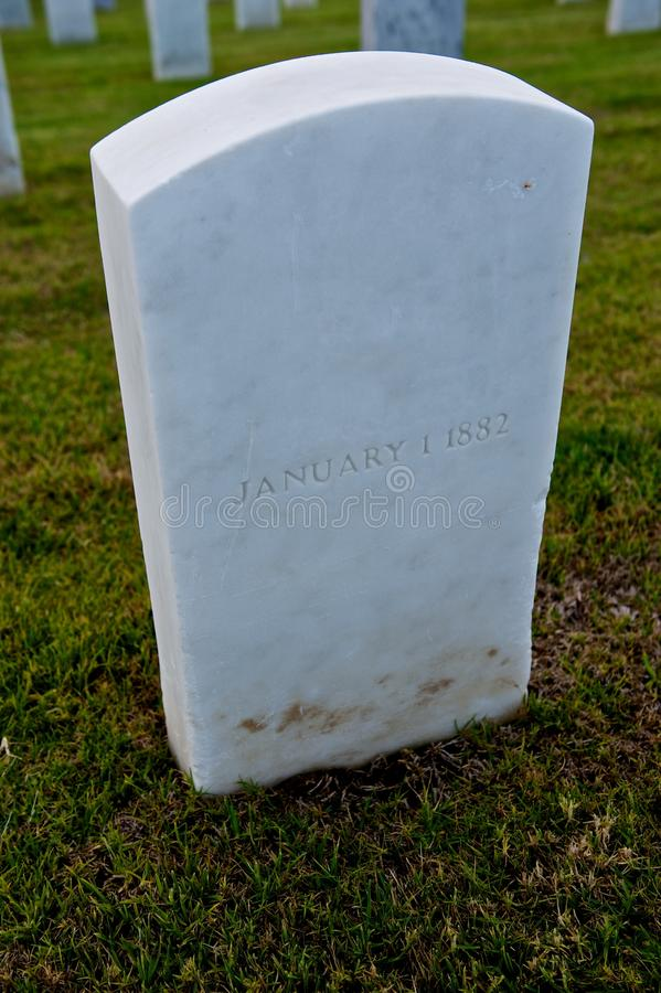 White Marble Military Style Headstone Or Gravestone Stock