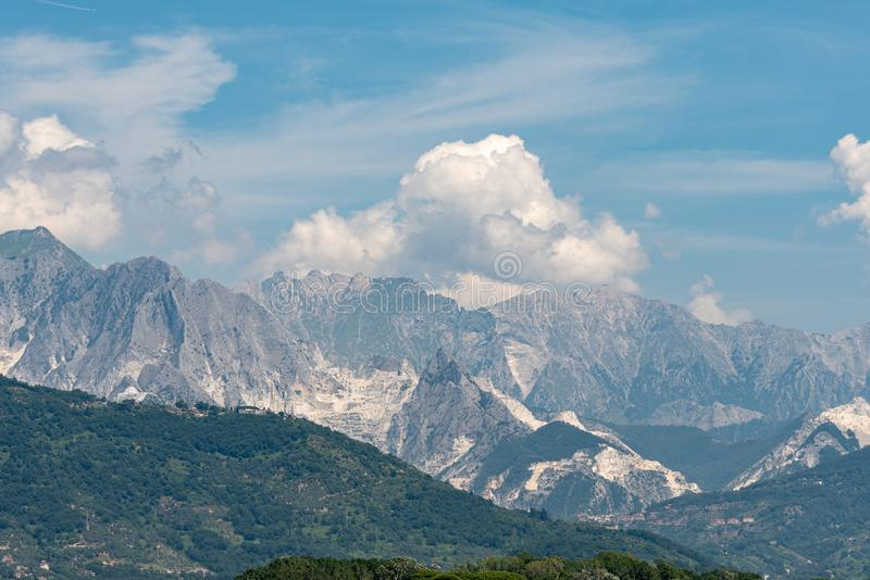 white marble mountains of Carrara in Italy royalty free stock photography