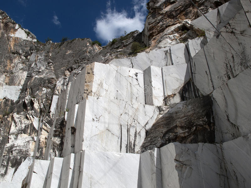 White marble quarry in marina di carrara stock image