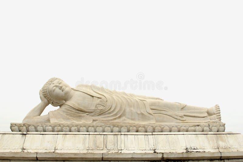 White marble reclining Zen Buddha statue, China royalty free stock photos