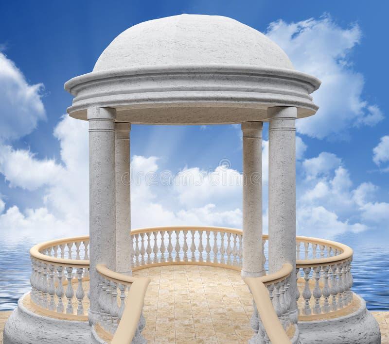 White marble rotunda against the sky 3D rendering vector illustration