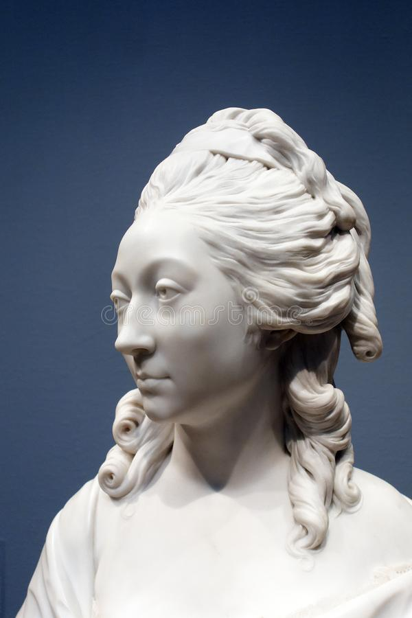 White Marble Sculpture, Female Portrait, Chicago Institute of Art. An early American white marble sculpture, stoic female head and shoulders, Chicago Institute stock photography