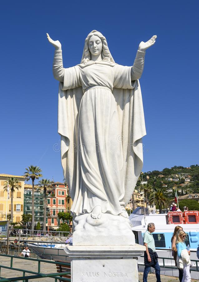 White marble sculpture of Saint Margherite of Antioch, patron saint of the city of Santa Margherita Ligure, Italy stock image
