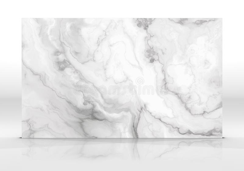 White marble Tile texture. White marble tile standing on the white background with reflections and shadows. Texture for design. 2D illustration. Natural beauty stock image