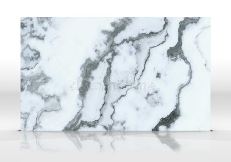 White marble Tile texture. White marble tile standing on the white background with reflections and shadows. Texture for design. 2D illustration. Natural beauty stock illustration